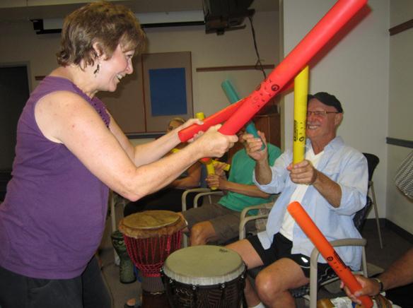 WEBSusan Hall makes boomwhacker music with Robert Lohman at the La Mesa Community Drum Circle..jpg