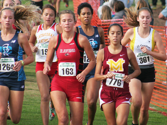 WEBMonte Vista's Celina Lepe (776 bib) takes the early lead in Saturday's San Diego Section Division III girls championship race. Photo by Phillip Brents.jpg
