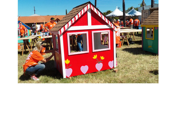 Home Depot Foundation And San Diego Habitat For Humanity Stage Custom Playhouse For Children In Military Veteran Families